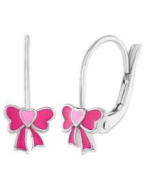 Cercei argint 925 - Pink Bow - Leverback
