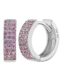 Cercei argint 925 Pink Huggies Hoop