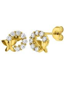 Cercei argint 925, placat cu aur, Clear CZ Butterfly Stud