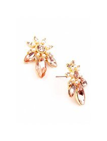 Cercei aurii cu cristale si perle fashion