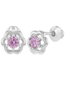 Cercei bebe, din argint 925, cu surub si cristale Cubic Zirconia - Diamond Flower