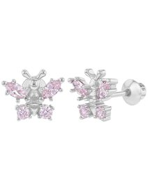 Cercei copii, din argint 925, flurure roz