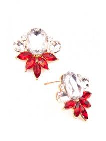 Cercei cu cristale si pietre fashion in nuante de rosu