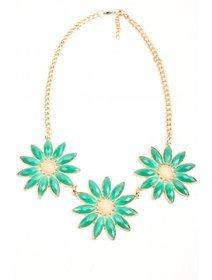 Colier fashion cu cristale verzi si crem