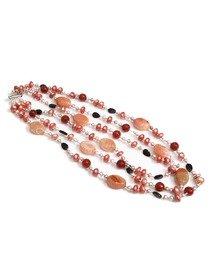 Colier in mix de pietre semipretioase si perle de cultura