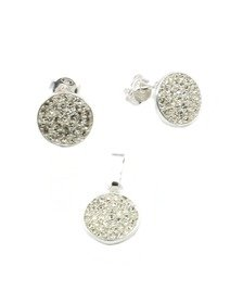 Set argint cu mici cristale Cubic Zirconia