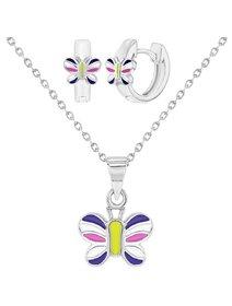 Set argint, pentru fete, cu Fluture Colorat