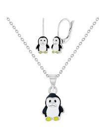 Set bijuterii argint, pentru copii, cu tematica Pinguin