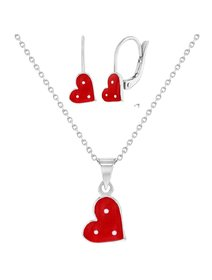 Set bijuterii copii, din argint 925, cu email - Red Hearts