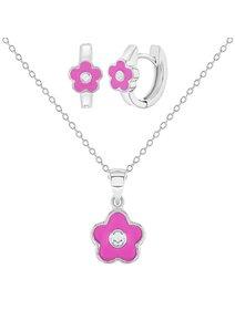 Set bijuterii copii, din argint 925, format din cercei si colier - Floare Roz