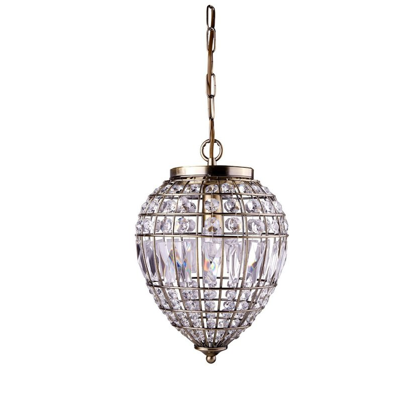 Pendul Searchlight Pendant Brass Crystal