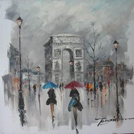 Tablou pictat manual Arc De Triomphe