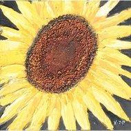 Tablou pictat manual Floarea Soarelui A, 40x40cm