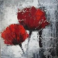 Tablou pictat manual Flori rosii, 40x40cm