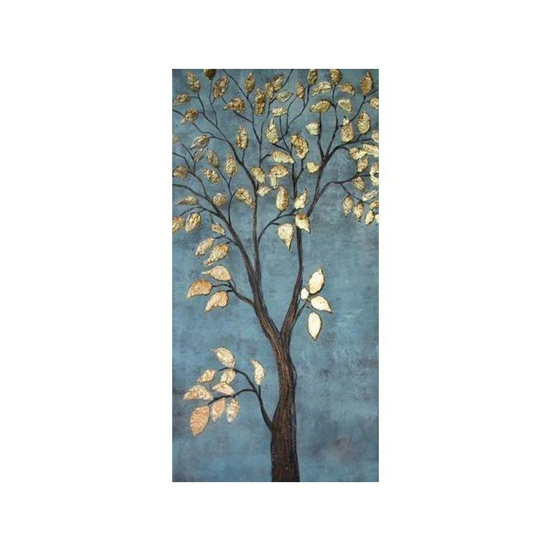 Tablou pictat manual Gold leaves, 60x120cm