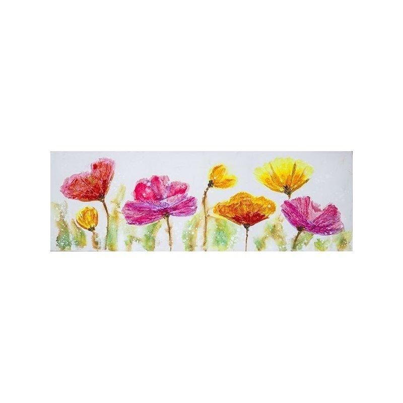 Tablou pictat manual Joyful, 50x150cm