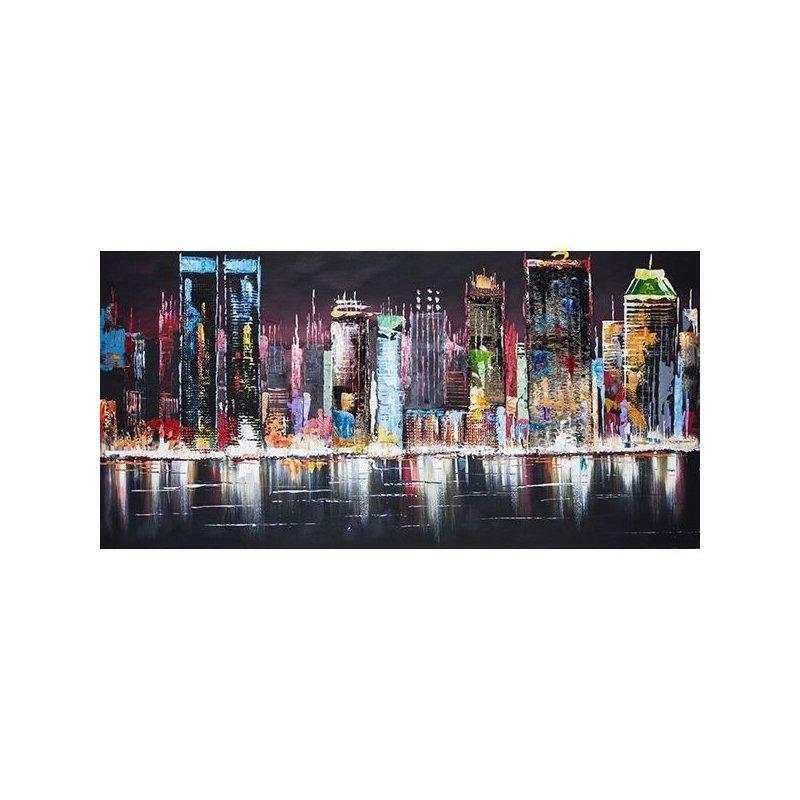 Tablou pictat manual Night lights, 70x140cm