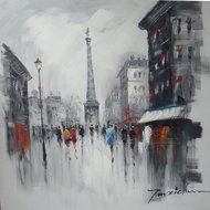 Tablou pictat manual Parisian way, 80x80cm