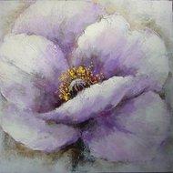 Tablou pictat manual Petunia, 60x60cm