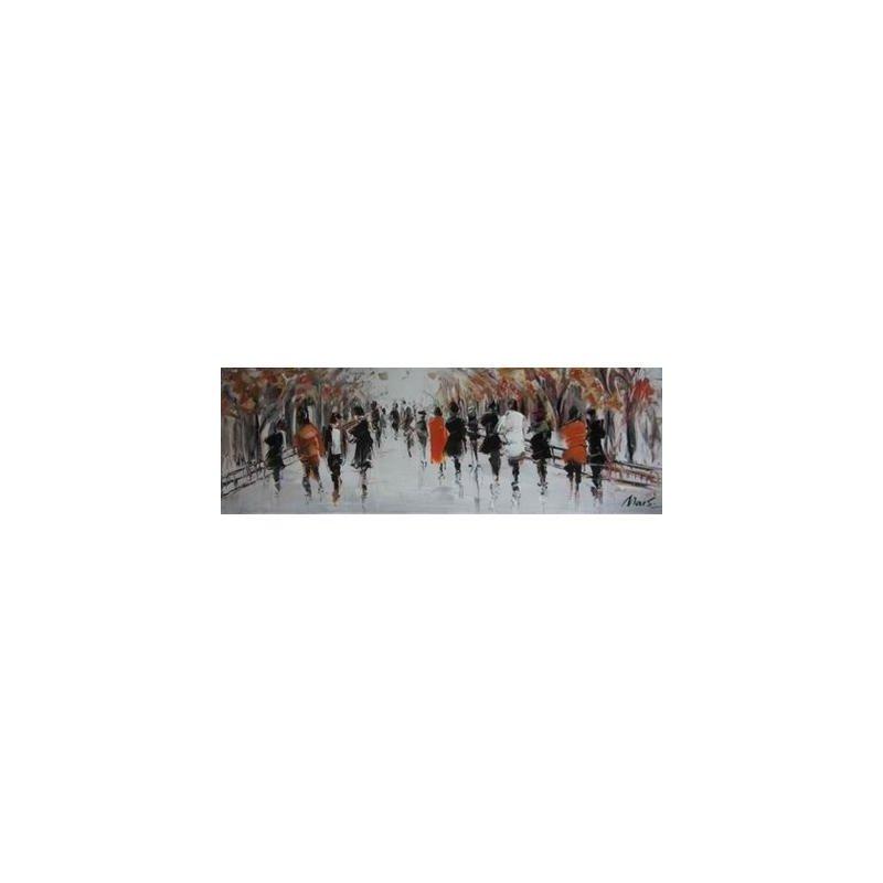 Tablou pictat manual Street Life B, 50x150cm