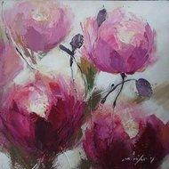 Tablou pictat manual Trandafiri, 60x60cm