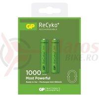 Acumulator AAA R3 NiMH ReCyko+ 1000mAh 2 bucati/blister GP