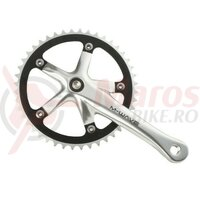 Angrenaj pedalier alu. M-Wave,1 foaie alu CNC, 165mm, 1/2x1/8x44T, argintiu/negru