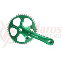 Angrenaj pedalier alu. M-Wave 165mm, 1/2x1/8x46T argintiu/verde
