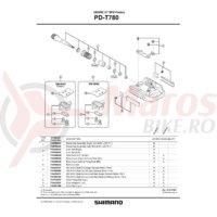 Ansamblu ax pedala Shimano PD-T780 dreapta B.C. 9/16