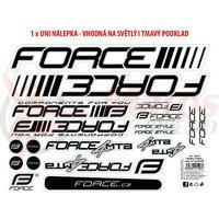 Autocolante cadru MTB logo Force 37x27 cm alb cu negru
