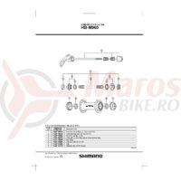 Ax butuc Shimano HB-M960 108mm (4-1/4