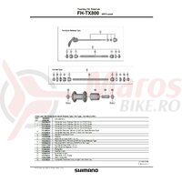 Ax complet pt. butuc Shimano pt. FH-TX800 146mm (5-3/4