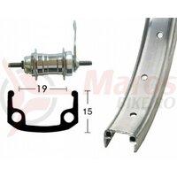 Roata spate 20x1.75  36L. Aluminiu/Zinc Back-pedaling Brake Hub