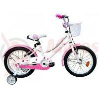 Bicicleta copii Robike Alice 16 alb/roz