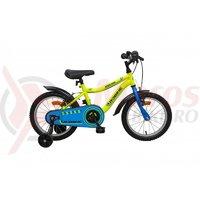 Bicicleta copii Robike Racer 16 galben neon/ albastru