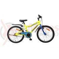 Bicicleta copii Robike Racer 20 galben neon/albastru