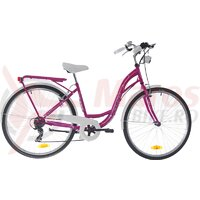 Bicicleta dama Neuzer Ravenna 6 Plus - 28''- Magenta/Alb