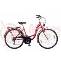 Bicicleta dama Neuzer Ravenna 6 Plus - 28''-rosu rubin/alb