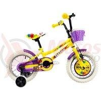 Bicicleta DHS 1402 Kids galbena 2019