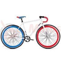 Bicicleta Drag Stereo Fixie alb/albastru/rosu
