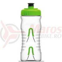 Bidon Fabric Clear W/ Green Cap 600ml