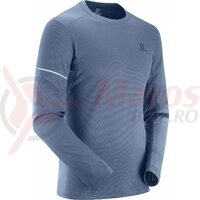 Bluza alergare barbati Salomon Agile LS Dark Denim