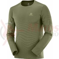 Bluza alergare barbati Salomon Agile LS Olive Night