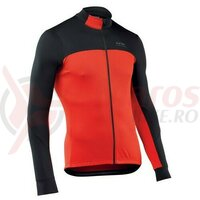 Bluza ciclism Force 2 long, negru-rosu