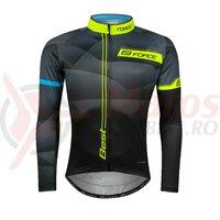 Bluza ciclism Force Best maneci lungi negru/fluo