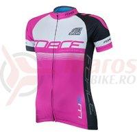 Bluza ciclism Force Lux dame maneci scurte roz