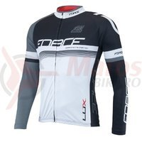 Bluza ciclism Force Lux maneci lungi negru/alb