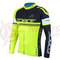 Bluza ciclism Force Lux maneci lungi negru/fluo