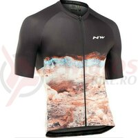 Bluza cu maneca scurta ciclism Northwave Earth black/orange
