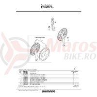 Brat pedalier Shimano FC-M171-A stanga 175mm argintiu